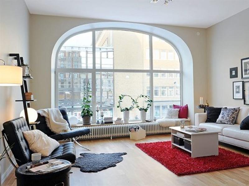 Гостиная с балконом - находка для дизайнера - дизайн интерье.